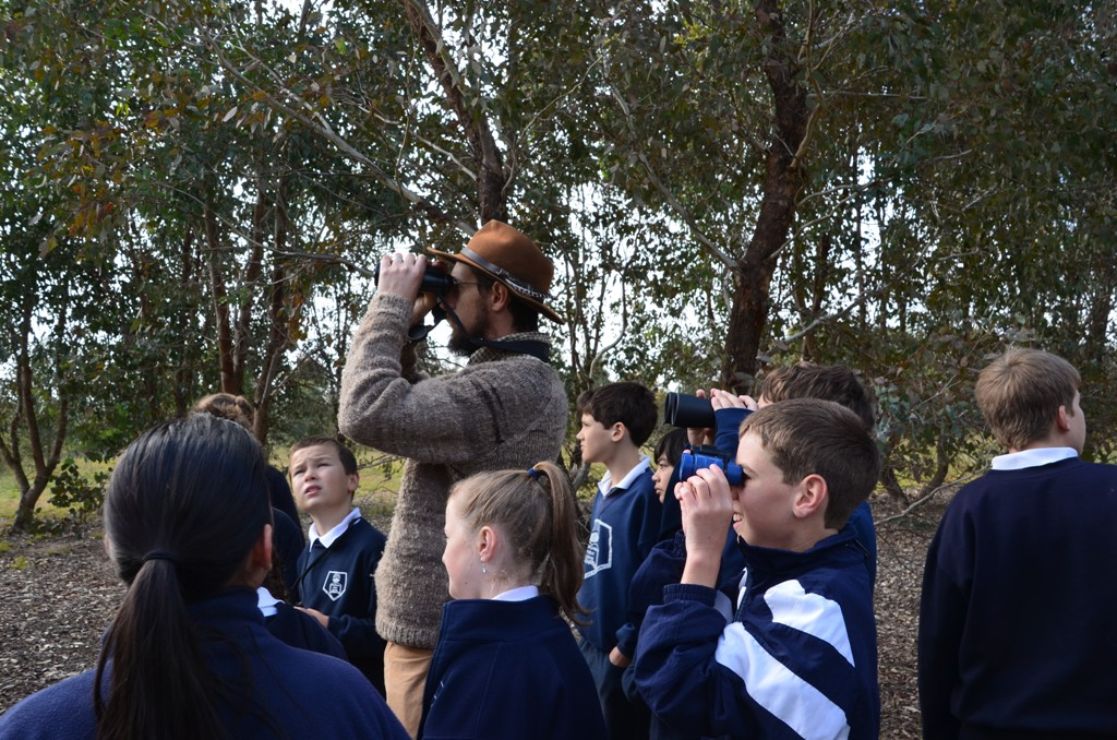 Dr David M Watson looking for birds on the Charles Sturt University campus with Thurgoona Primary School (Nikita Tabuteau)
