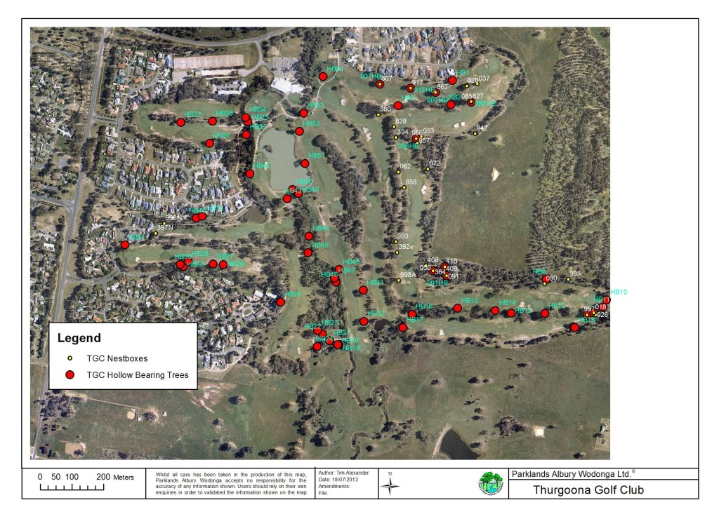 Map of Hollow-bearing trees and nest boxes on Thurgoona Country Club Resort (July 2013)