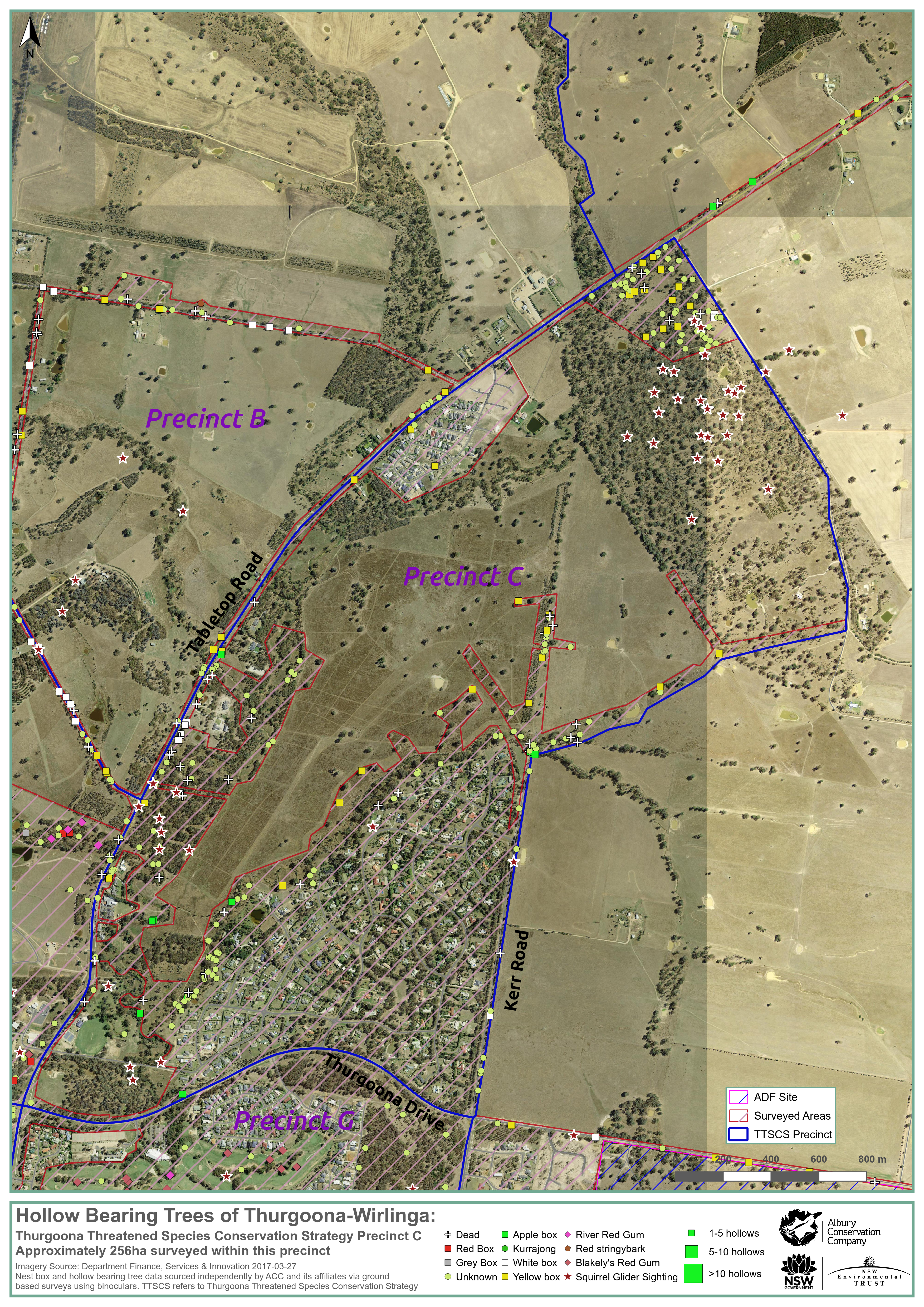 Map of Hollow-bearing Trees in Thurgoona (Precinct C - Thurgoona Threatened Species Conservation Strategy) March 2017