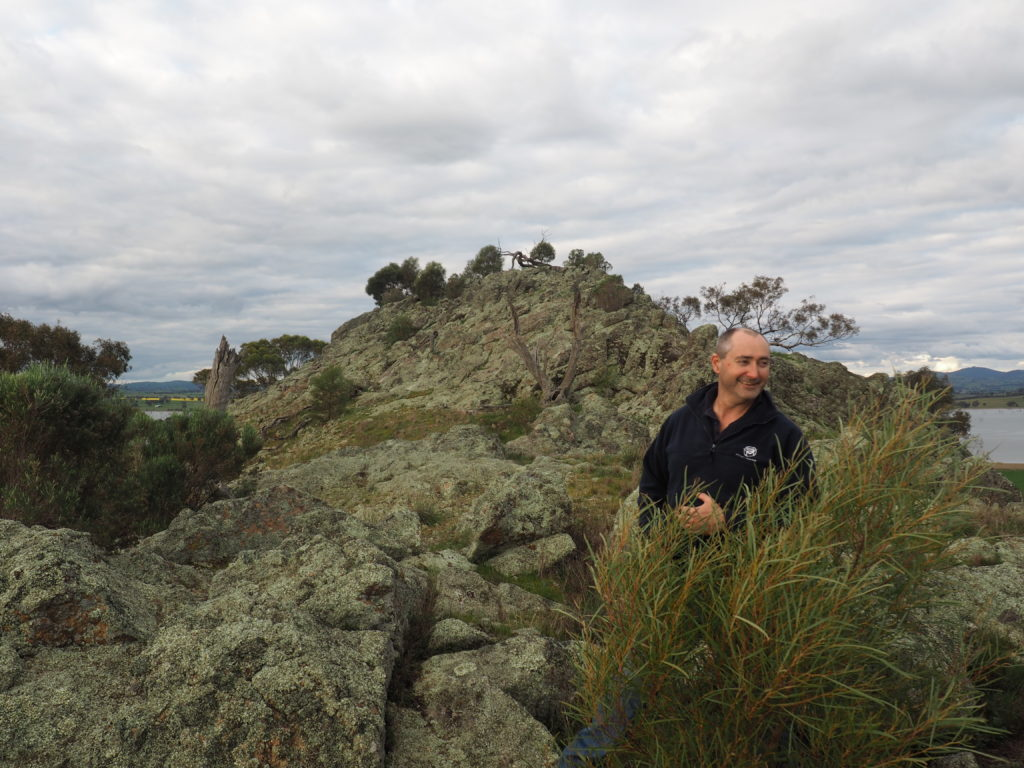 Joe Esler on top of Little Budginigi Hill, Tabletop NSW (Sept 2017)