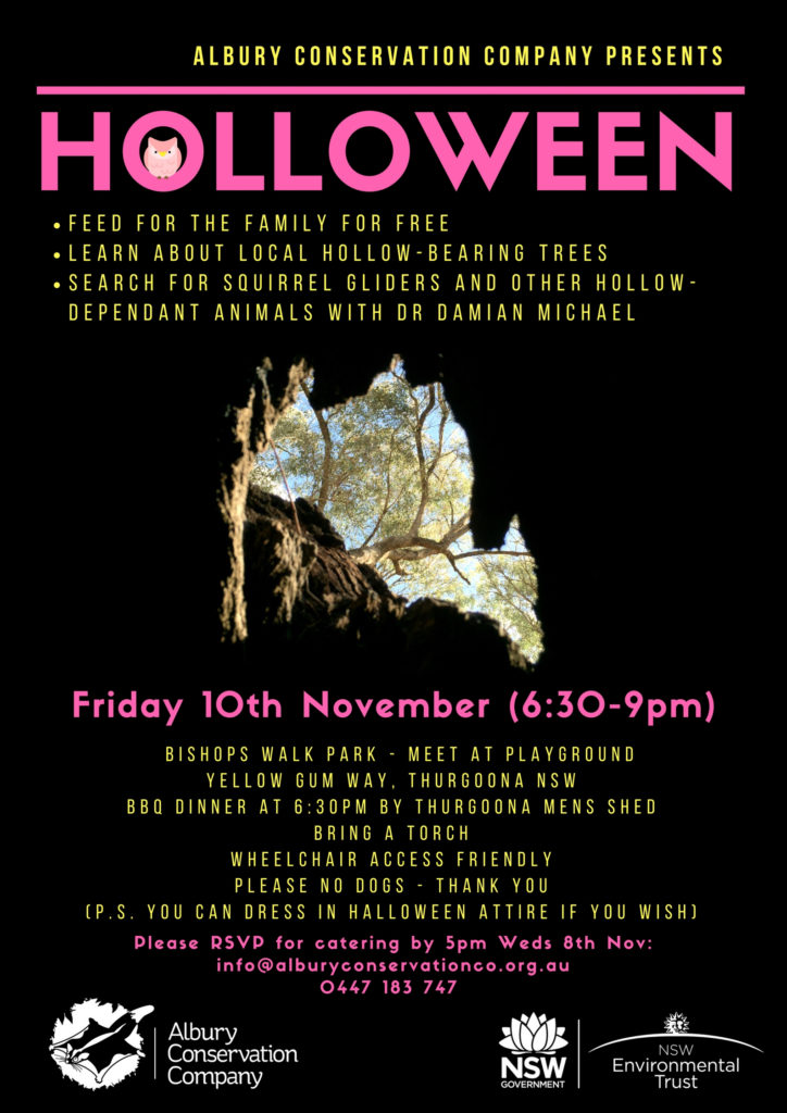 Holloween_Thurgoona_Albury Conservation Company_Friday 10Nov2017