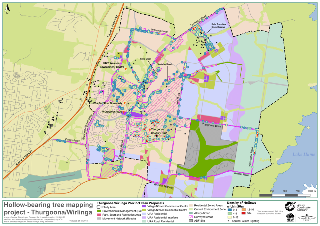 MAP_Overview_Hollow bearing tree project_Thurgoona Wirlinga_Albury Conservation Company_31Jan2018