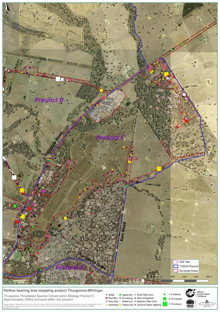 MAP_Precinct C_Hollow bearing tree project_Thurgoona Wilrliga_Albury Conservation Company_31Jan2018