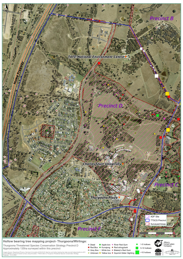 MAP_Precinct D_Hollow bearing tree project_Thurgoona Wilrliga_Albury Conservation Company_31Jan2018