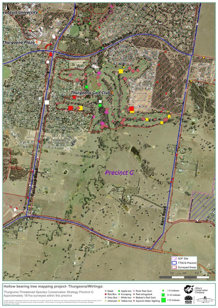 MAP_Precinct G_Hollow bearing tree project_Thurgoona Wilrliga_Albury Conservation Company_31Jan2018
