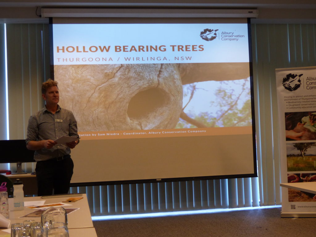 Hollow-bearing Tree (HBT) Workshop, Albury - presentation on project findings by Sam Niedra (Coordinator, Albury Conservation Company)
